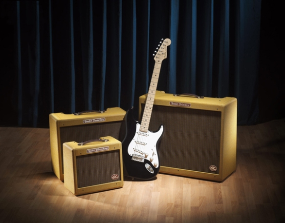 Three Fender Eric Clapton Signature Amplifiers with a stratocaster guitar