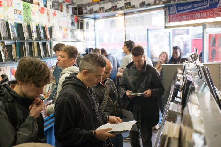 Me, centre right, inside Banquet Records (click for larger image). Photo by James Perou, courtesy of Banquet Records.