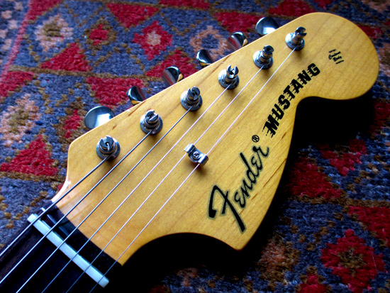 Vintage tuners on a Fender Mustang