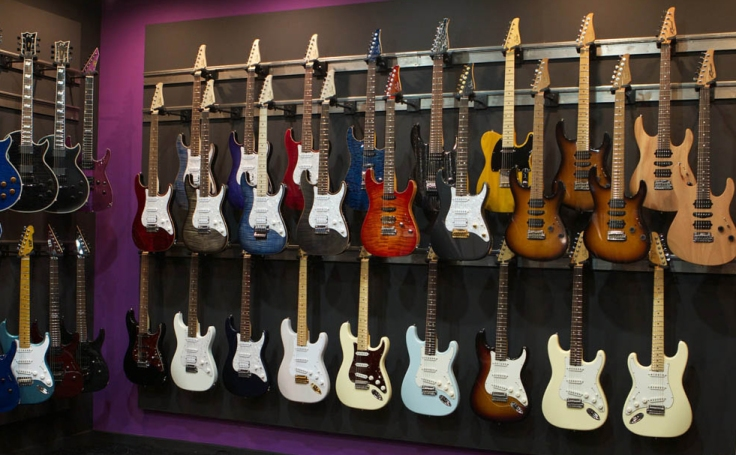 Guitars on wall at Guitars Rebellion