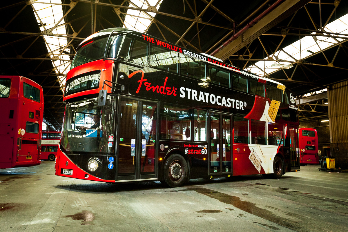 Fender Stratocaster and Routemaster bus 60th anniversay collaboration ... Buddy Holly Electric Guitar