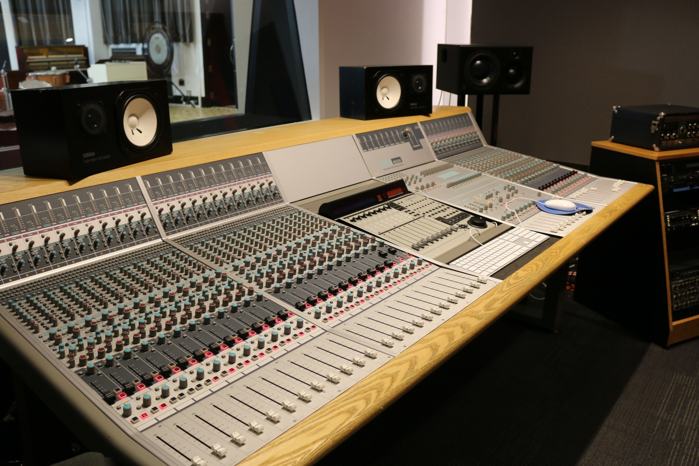 Audient asp8024 36 channel inline mixing desk in control room at the visconti studio